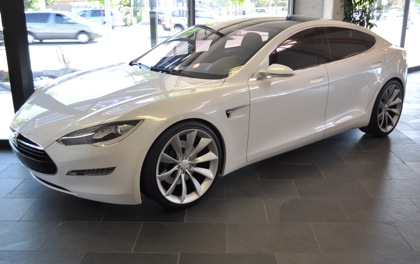 Tesla's new all-electric $50,000 4-door sedan, the Tesla S, in the Menlo Park showroom!