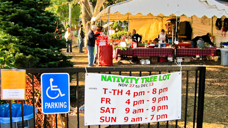 Nativity School Christmas Tree lot at the corner of Oak Grove and Laurel in Menlo Park