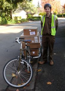 UPS cyclist delivers in time for naughty and nice