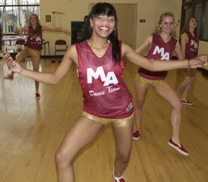 M-A dance team member at practice session