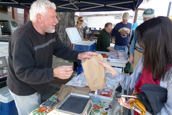 Pietro Parravano, skipper of FV Anne B., at Menlo Park Farmer's Market