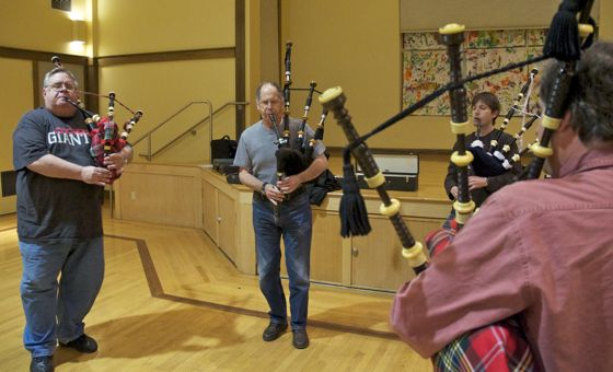 Stuart Highlanders Pipe Band in rehearsal at St Bede's Church in Menlo Park