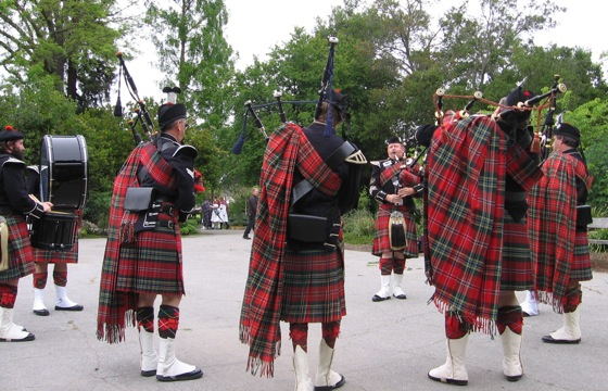 In rehearsal with the Stuart Highlanders Pipe Band
