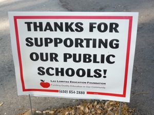 Las Lomitas Education Foundation 'thanks for supporting' sign