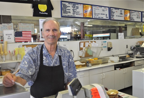 Bob Lutticken at Lutticken's deli in Menlo Park