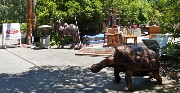 Eclectic garage sale on Stanford Ave. in Menlo Park