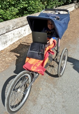 Jogging stroller with DVD player
