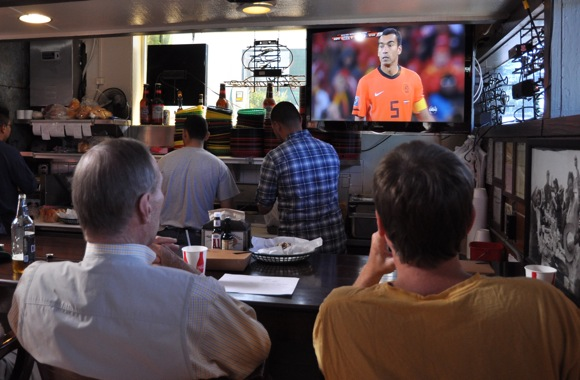 Scene at the Dutch Goose during today's World cup final