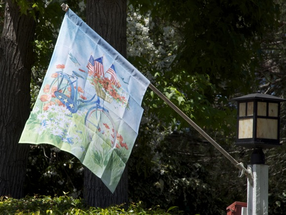 Summer flag waving in Menlo Park, CA