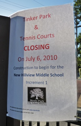 Closure notice at Tinker Park