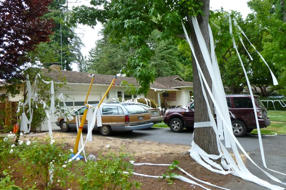 toilet paper adorns the yard of Ambar Rd house in Menlo Park
