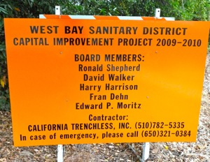 West Bay Sanitary District construction sign