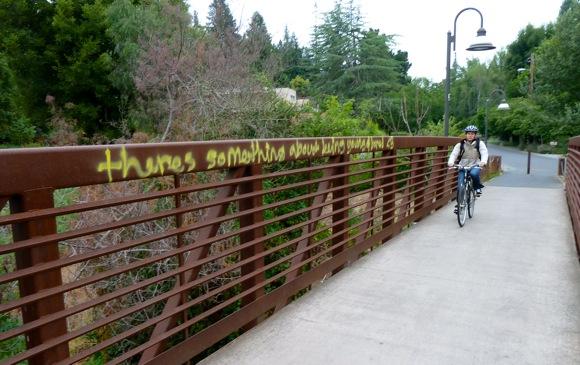 graffiti at San Mateo Dr bike bridge in Menlo Park