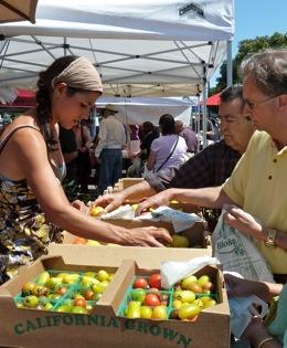 Fresh ripe tomatoes hit Menlo's Farmer's Market