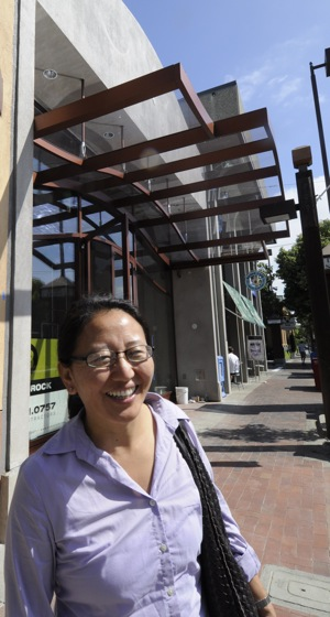 Yonten Raza outside her new building on Santa Cruz Avenue