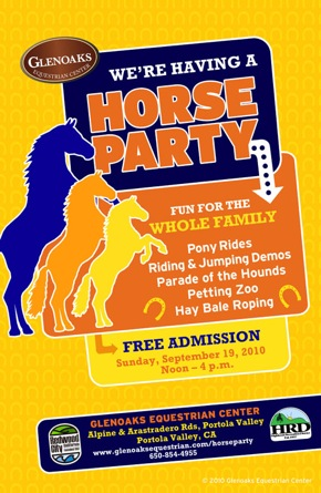 Poster for Horse Party at Glen Oaks Equestrian Center