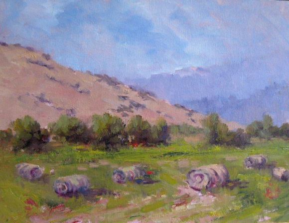 Hay Bales, oil painting by Alice Weil