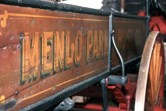 Fire cart inside historic Menlo Park, CA fire  house