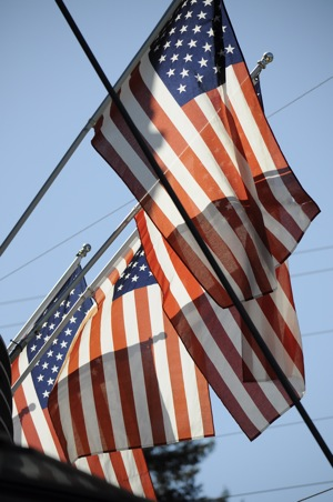 American flags outside of Draegers Supermarket in Menlo Park