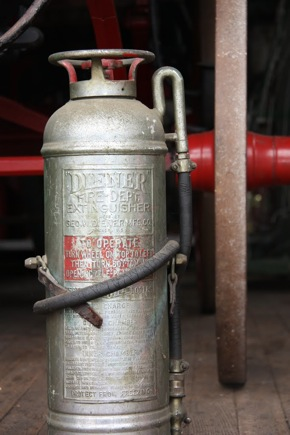 Historic fire extinquisher inside Menlo Park original fire house
