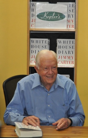 former President Jimmy Carter at Keplers Books in Menlo Park
