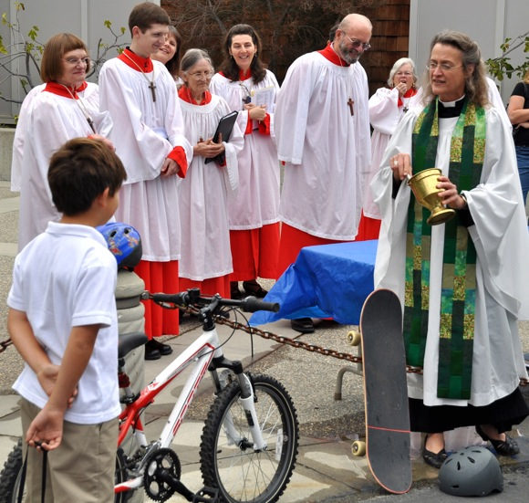 Bike blessing at St. Bede's