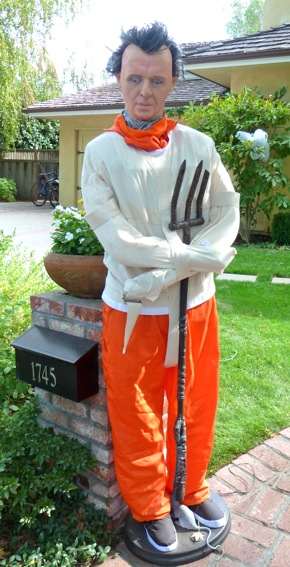 Hannibal Lector ready to greet Menlo's trick or treaters