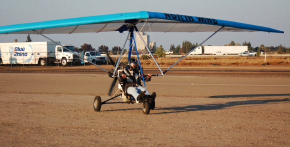 Imre Kabai flying his ultra light aircraft