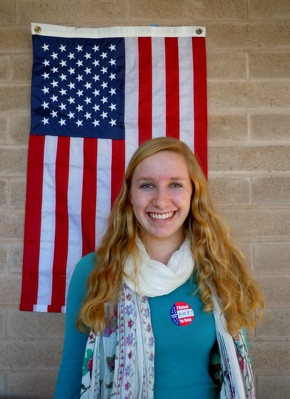 Leah Tobias of Menlo Park votes on her 18th birthday