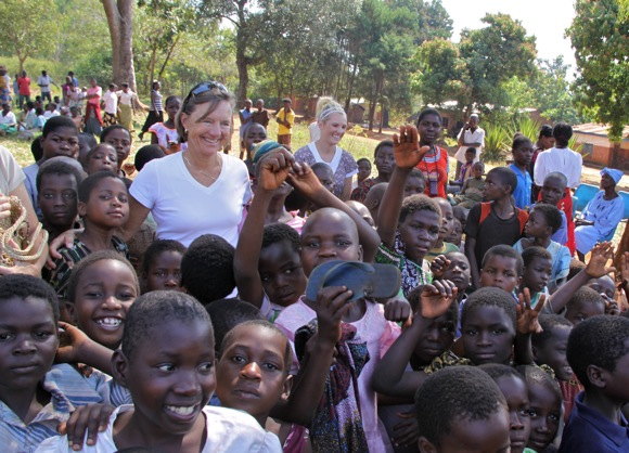 Marty Arscott with Malawian children
