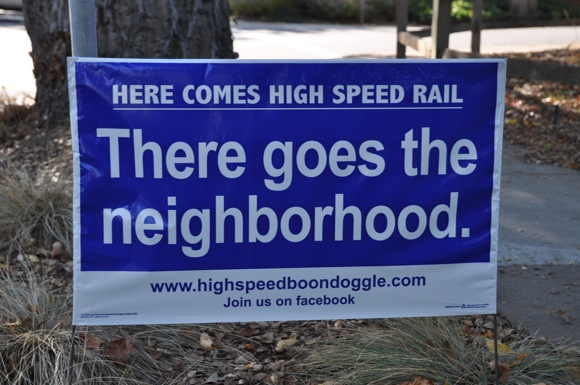 anti high speed rail signs in Menlo Park