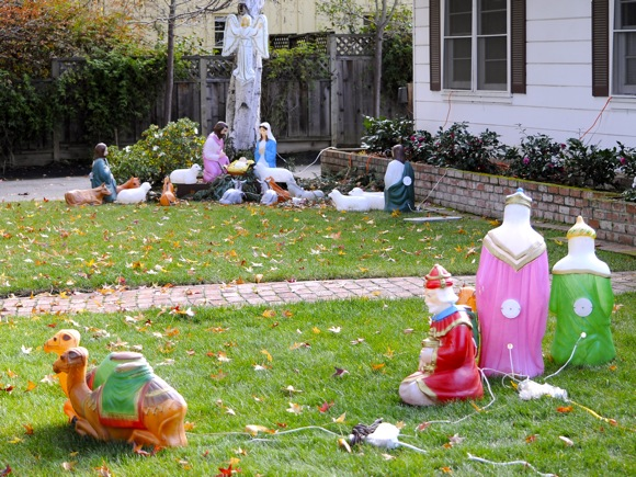Nativity scene on Cotton St. in Menlo Park