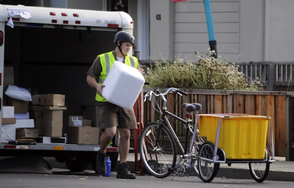 UPS bicycle delivery in Menlo Park