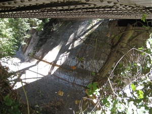 Under Menlo: San Francisquito Creek railroad bridge