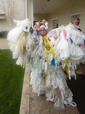 Bag Monster as worn by Atherton resident Nancy Grove