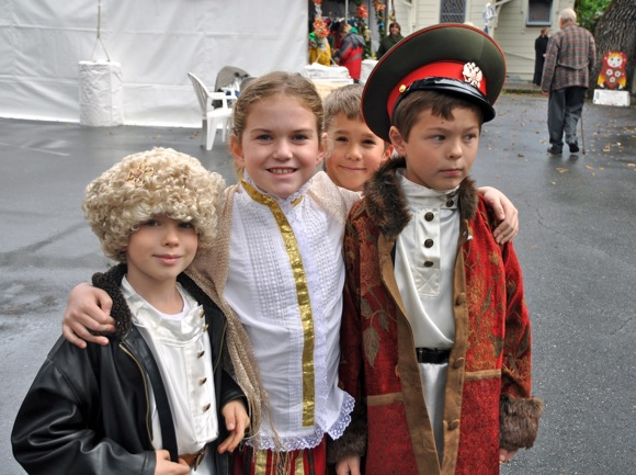 Costumed children at Russian Christmas Bazaar in Menlo Park