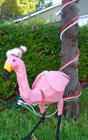 pink flamingo with Santa hat in Menlo Park