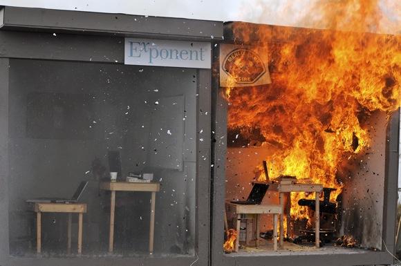 School classroom fire demonstration