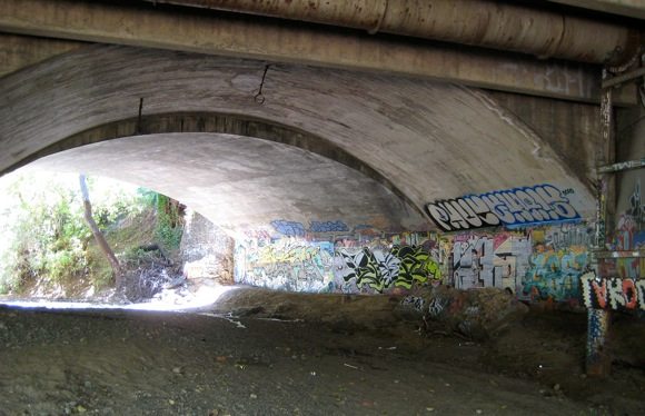 Under Menlo: El Camino Real crosses San Francisquito Creek