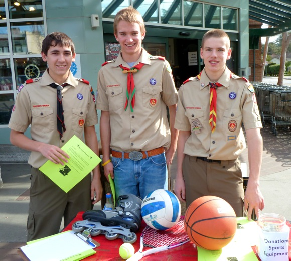 Boy Scouts working on Eagle scout project
