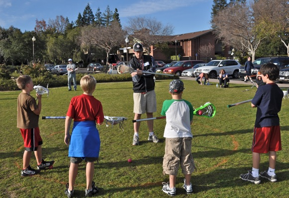Jeff Kangas at lacrosse clinic at Burgess Park, Menlo Park