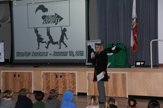 Principal Allison Liner at Encinal School launch of Eagle Express