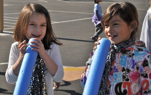 girls playing with Imagination Playground tubes at Oak Knoll School