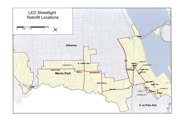 map of Menlo Park LED street lighting