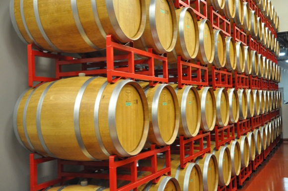 wine barrels at Woodside Vineyards in Menlo Park