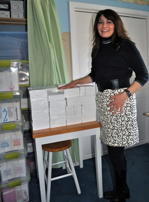 Sky of Blue owner/designer Karla Ebrahimi in her Menlo Park studio
