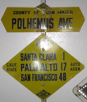 Old Atherton street sign for Polhemus Ave.