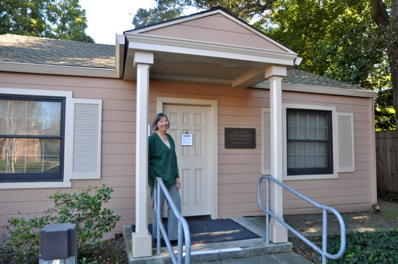 Sue Allen in front of the Menlo Park Family History Center