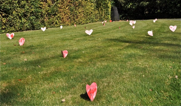 Valentine's day hearts on lawn in Atherton, CA
