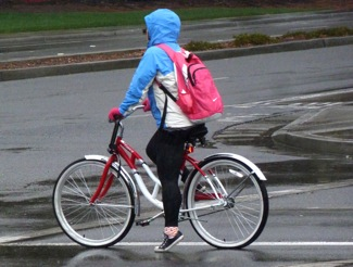 biking during rainy weather in Menlo Park